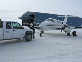 Putting the King Air to bed in the hanger.