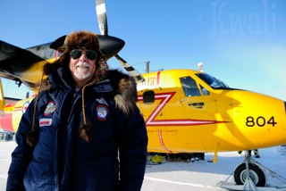 Art standing in front of the Canadian Forces yellow Twin Otter