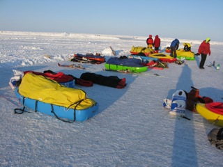 North Pole skiing expeditions preparing their sleds at Ice Station Barneo.