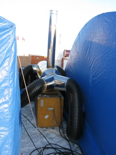 Oil fired heaters keep Ice Station Barneo tents toasty warm.