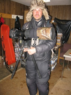 Vincente Murien, well known French wildlife photographer, preparing to go to the field near Eureka Weather Station.