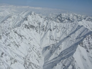 Rugged mountain peaks of the Richardson Mountains, between Inuvik, Northwest Territories and Old Crow, Yukon Territory.