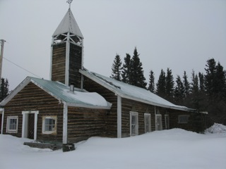 The Anglican log church building in Old Crow, Yukon Territory.