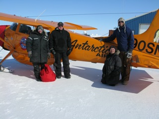The Laserich Team (Left to Right:  Gordon, Remy, Willy, and Brian) - Adlair Aviation, Cambridge Bay.