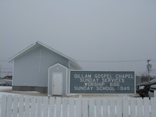 The Gillam Gospel Chapel congregation is comprised of 20 - or so - fine friendly folks.