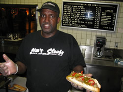 Art couldn't miss the opportunity for a real Phillie Cheesesteak sandwich
